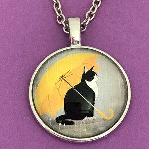 Cat Under Yellow Umbrella Silver Pendant Necklace